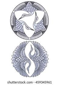 oriental cranes emblems color
