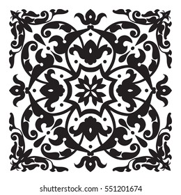 Oriental decorative element. Zentangle mandala black and white. Vector illustration.