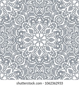 Oriental decorative seamless pattern. Arabesque design concept. Geometric decorative tile, for backgrounds, wallpapers, fabric, greeting cards and wedding invitation designs. Vector illustration.