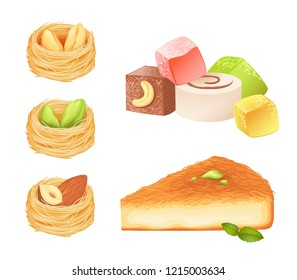 Oriental desserts isolated on white.  Sweet nests with nuts, turkish delight  and kanafeh. Vector illustration