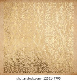 Oriental detailed pattern of geometric flowers in golden paint metallic foil decorative backdrop origami paper vintage old texture with gold ink glitter foil background Hanami spring festival vector