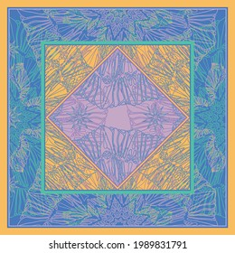 Oriental detailed square background. Silk scarf design. Pareo, shawl, scroll, carre, bandana, hijab print.