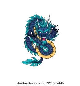 oriental dragon cartoon icon on a white background