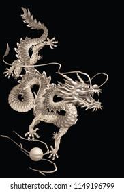 Oriental dragon on a black background