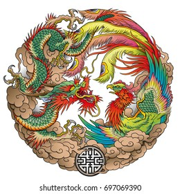 oriental dragon and phoenix circle color