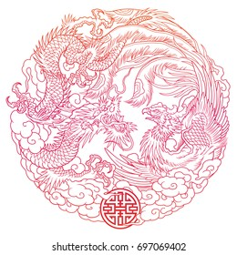 oriental dragon and phoenix circle outline