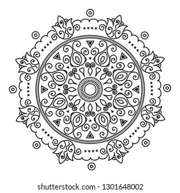 Oriental east asian traditional adult coloring book line art ornament with whimsical mandala