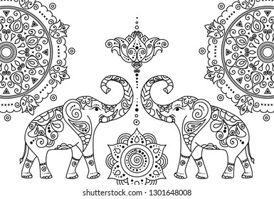 Oriental east asian traditional adult coloring book line art ornament with traditional folk motives with elephants, mandalas and lotus flowers.