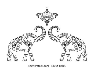 Oriental east asian traditional adult coloring book line art ornament with traditional folk motives with elephants,  curves and lotus flowers.