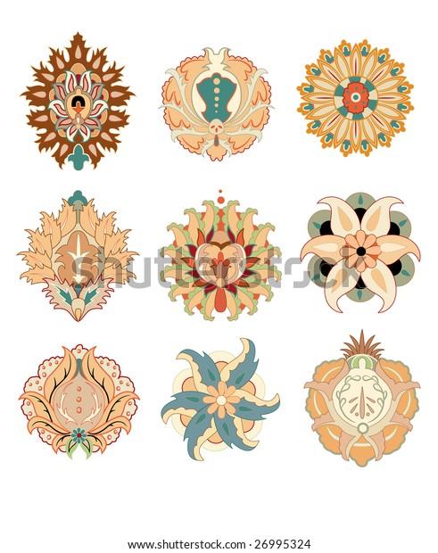 oriental elements rosace vector