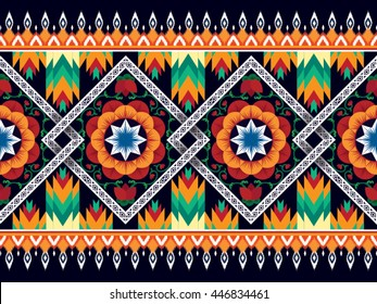 Oriental ethnic pattern traditional background Design for carpet,wallpaper,clothing,wrapping,batik,fabric,Vector illustration embroidery style.