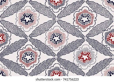 Oriental ethnic seamless pattern, Japanese block printed motif with sakura flowers and diamond ornament. Indigo blue and red on ecru background. Textile design.