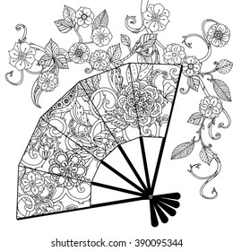 Oriental fan decorated with floral patterns Zentangle interpretation. Black and white. Vector illustration. The best for your design, textiles, posters, coloring book