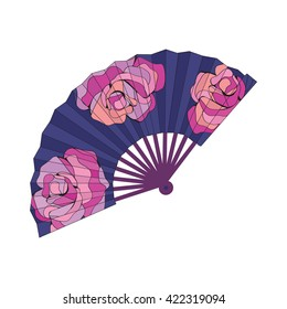 Oriental fan decorated with roses flowers Vector illustration for your design, textiles, posters, coloring book