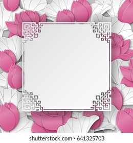 Oriental floral background with pink lotus flowers and chinese ornate cuted frame on white backdrop for greeting card, poster or banner. Space for text, paper cut out art style, vector illustration
