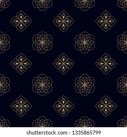 Oriental floral motif peacock feather flowers pattern. Simple geometric all over design. Small medallion decorative print block for patchwork fabric, interior wallpaper, textile accessories, swimwear.
