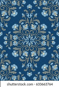 Oriental floral ornament. Colorful template for carpet, shawl, textile and any surface. Ornamental blue pattern with filigree details.