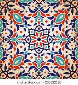 Oriental floral traditional ornament, Mediterranean seamless pattern, tile design, vector illustration