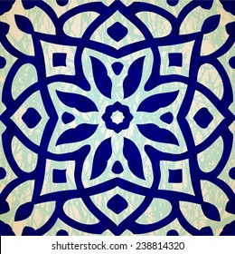 Oriental floral traditional ornament, Mediterranean seamless pattern, Turkish tile design, vector illustration