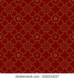 Oriental floral vintage ornament. Simple geometric all over vector design. Gold flowers on a red decorative seamless motif. Printing block for interior textile, scrap paper, fabric cloth, phone case.