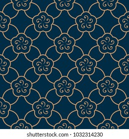 Oriental floral vintage ornament. Simple geometric all over design. Gold flowers on a indigo blue decorative seamless motif. Printing block for interior textile, wallpaper, fabric cloth, phone case.