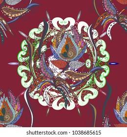 Oriental flourish vector. Yoga logo, background for meditation poster. Anti-stress mandala. Colorful mandala. Decorative colored round ornament. Indian flower mandala.