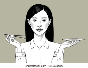 Oriental girl with long hair holds chopsticks and plate in her hands. Vintage engraving stylized drawing. Vector illustration