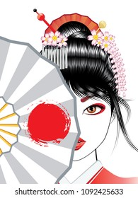 Oriental girl with traditional geisha hairstyle, makeup and decorative fan.