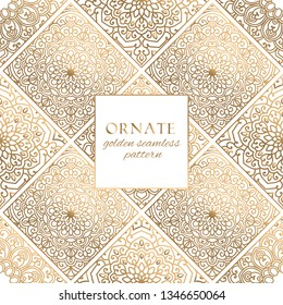 Oriental gold and white ornate tiles vector seamless pattern. Premium texture with decorative hand drawn mandala elements.