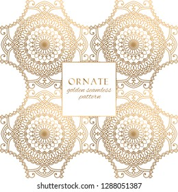 Oriental gold and white ornate vector seamless pattern. Classic ethnic texture with decorative hand drawn elements. Elegant light luxury background for traditional premium design and decor