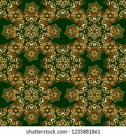 Oriental golden seamless pattern with arabesques and floral elements. Traditional classic vector ornament on a green background.