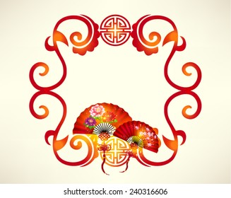 Oriental Happy Chinese New Year Fan Vector Design