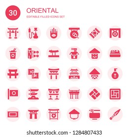 oriental icon set. Collection of 30 filled oriental icons included Torii, Hookah, Buddhism, Gong, Rug, Noodles, Kunai, Katana, Chinese, Forbidden city, Japan, Torii gate, Tatami