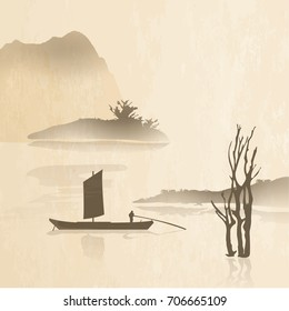 Oriental ink paintings of mountains and lakes with ferryboats / Boats between mountains and lakes Oriental painting