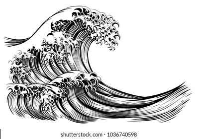 An oriental Japanese great wave in a vintage retro engraved etching style