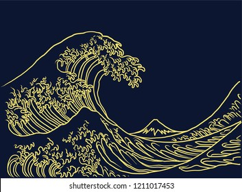 An oriental Japanese great wave in a vintage retro engraved etching outline