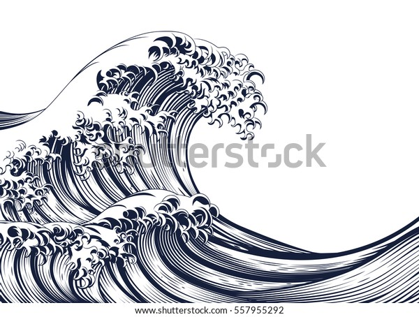 An oriental Japanese great wave in a vintage retro engraved etching woodcut style