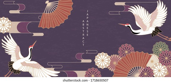 Oriental Japanese style abstract pattern background design daisy flower folding fan and bird crane