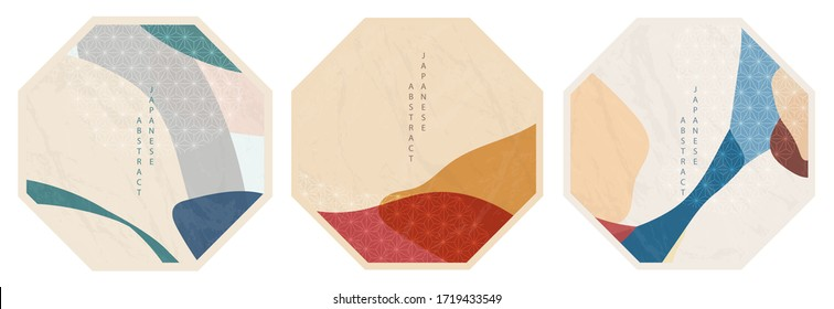 Oriental Japanese style abstract pattern background design geometry wave