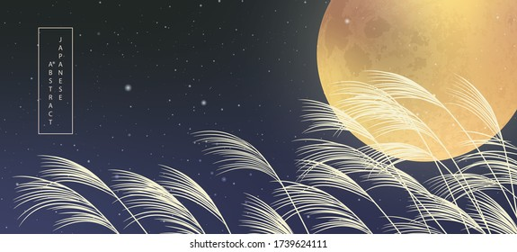 Oriental Japanese style abstract pattern background design full moon night starry sky and plant reed