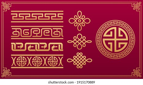 Oriental knots. Chinese pattern.  Asian knotting, asian decorative geometric ornament. Chinese and Japanese vector geometric and node gold pattern isolated on red background.