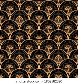 Oriental luxury background pattern seamless vector. Art deco gold black texture with vintage motif. Elegant scale design of wallpaper print, packaging, wrapping paper for beauty spa, wedding gift.