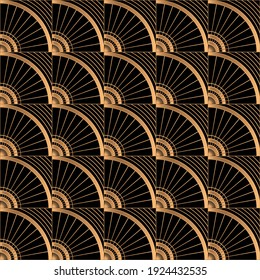 Oriental luxury background pattern seamless vector. Art deco gold black texture with vintage motif. Geometric design of wallpaper print, packaging, wrapping paper for beauty spa, wedding gift.