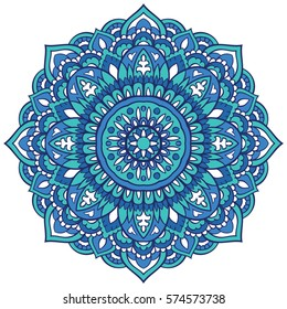 Oriental mandala. Vector turquoise ornament. Template for any surface. Design element.