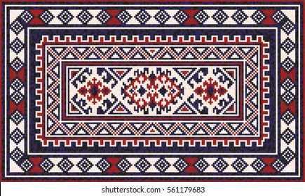 Oriental mosaic rug with traditional folk geometric ornament. Carpet border frame pattern. Vector 10 EPS illustration.