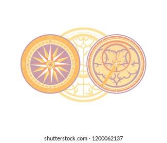 Oriental ornament. Decorative astrolabe. Astronomical patterns.