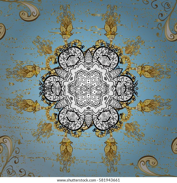 Oriental ornament in the style of baroque. Vector traditional classic golden pattern with white doodles on blue background.