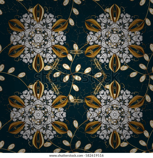 Oriental ornament in the style of baroque. Vector traditional classic golden pattern. Blue on background.