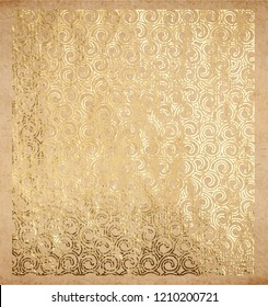 Oriental pattern of curled outline spirals real golden paint and metallic foil decorative backdrop or origami paper vintage old texture with gold ink metallic background lace style template for cards.