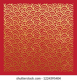 Oriental pattern of seigaiha waves real golden paint and metallic foil on red background decorative backdrop or origami paper with gold ink metallic lace style for Chinese New Year